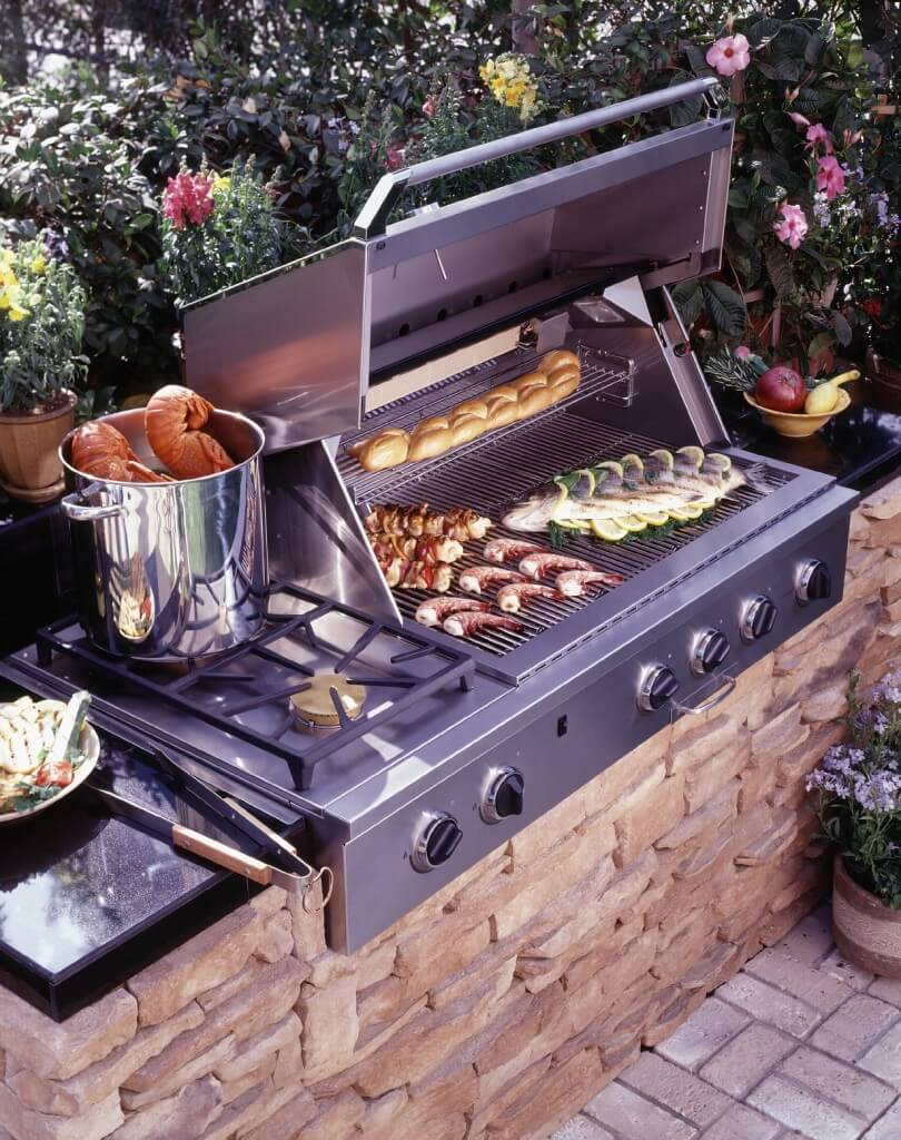 Grill Built into Stone