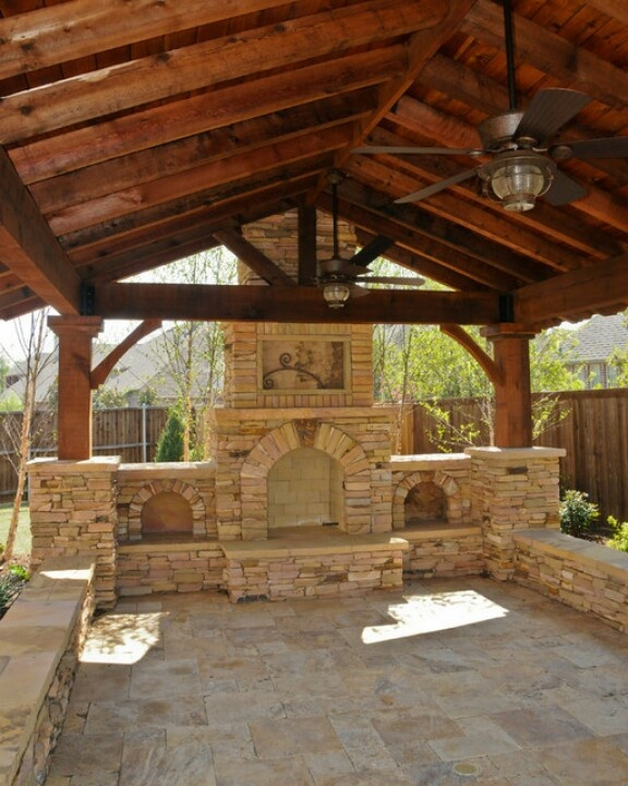 Rustic Gazebo with Fireplace