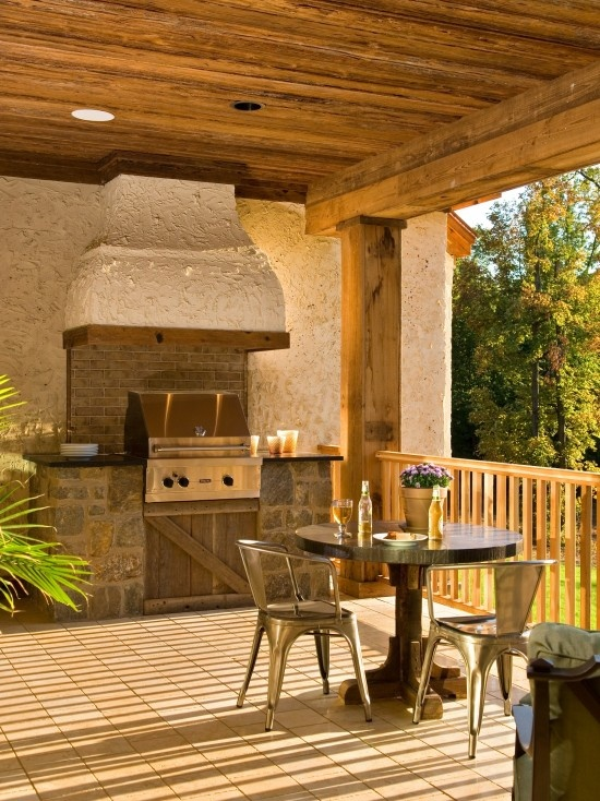 Rustic Outdoor Kitchen On Porch