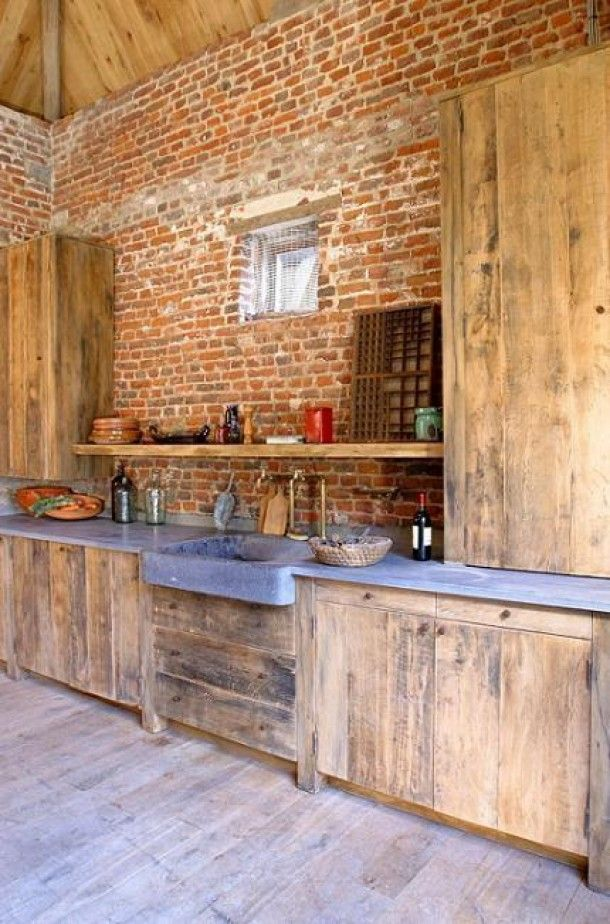 Rustic Wood and Brick Kitchen