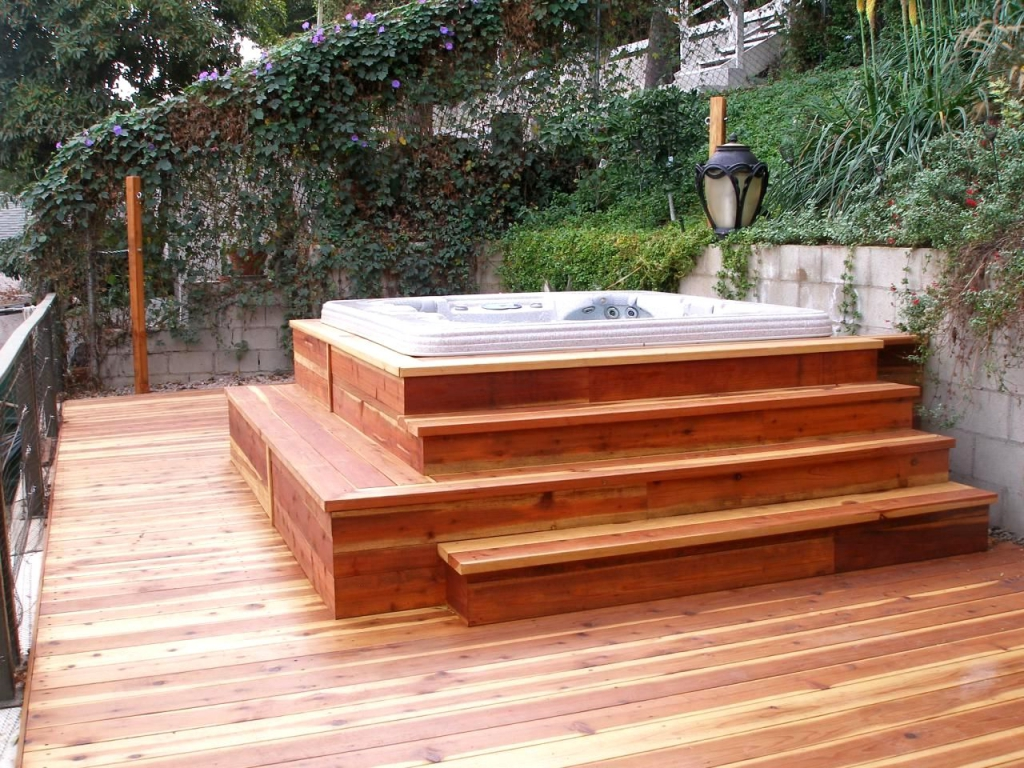 Deck Plans For Hot Tub Designs Relaxing Tropical Atmosphere inside Elevated Hot Tub Deck Designs