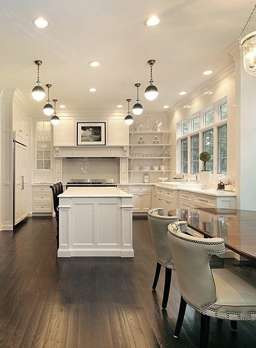 All White Kitchen with Dark Floors