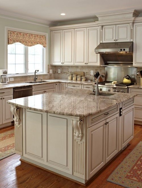 Antique White Kitchen Cabinets and Granite