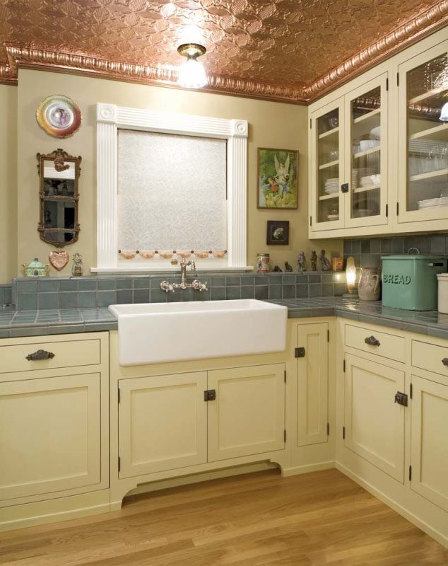 Antique White Kitchen Cabinets with Farm Sink