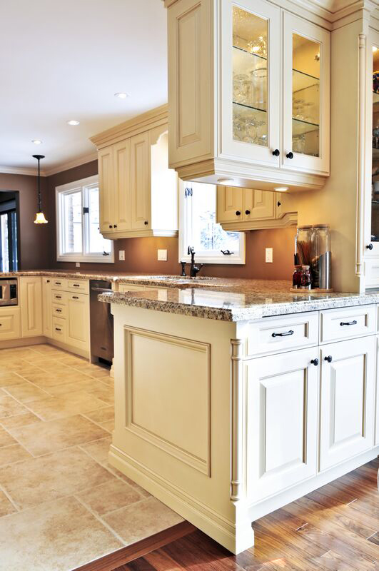 Antique White Kitchen Cabinets with Tile Floors