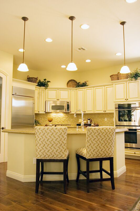Antique White Kitchen Cabinets with Yellow