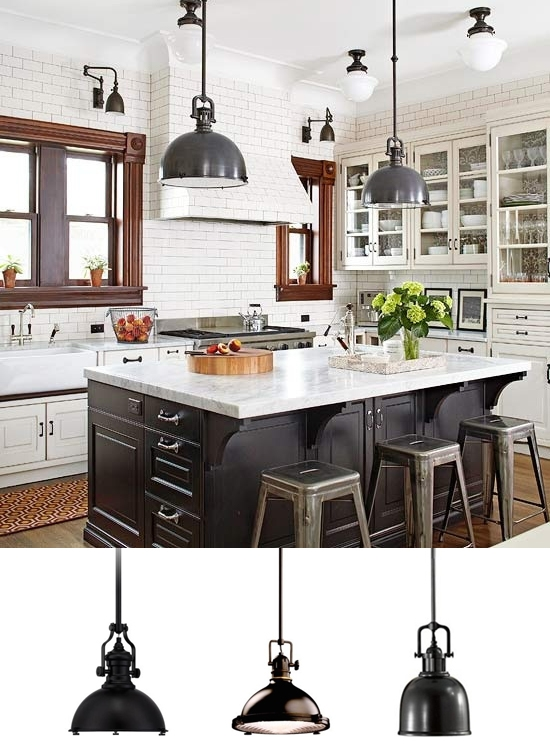 Black Industrial Pendant Lights Kitchen
