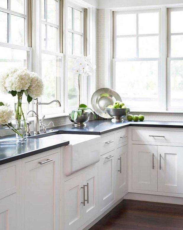 Black Pearl Granite Countertops with White Cabinets