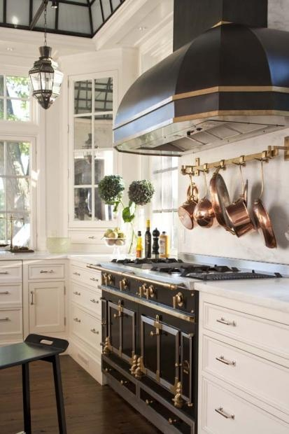 Black White Kitchen with Range Hood