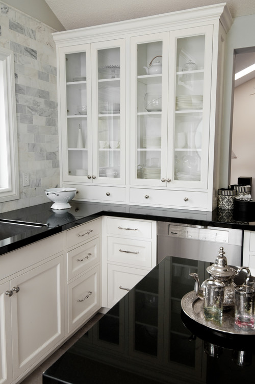 Black and White Cabinets with Granite Countertops Backsplash