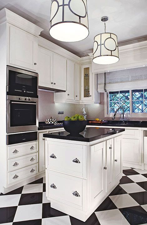 Black and White Checkered Kitchen Floors