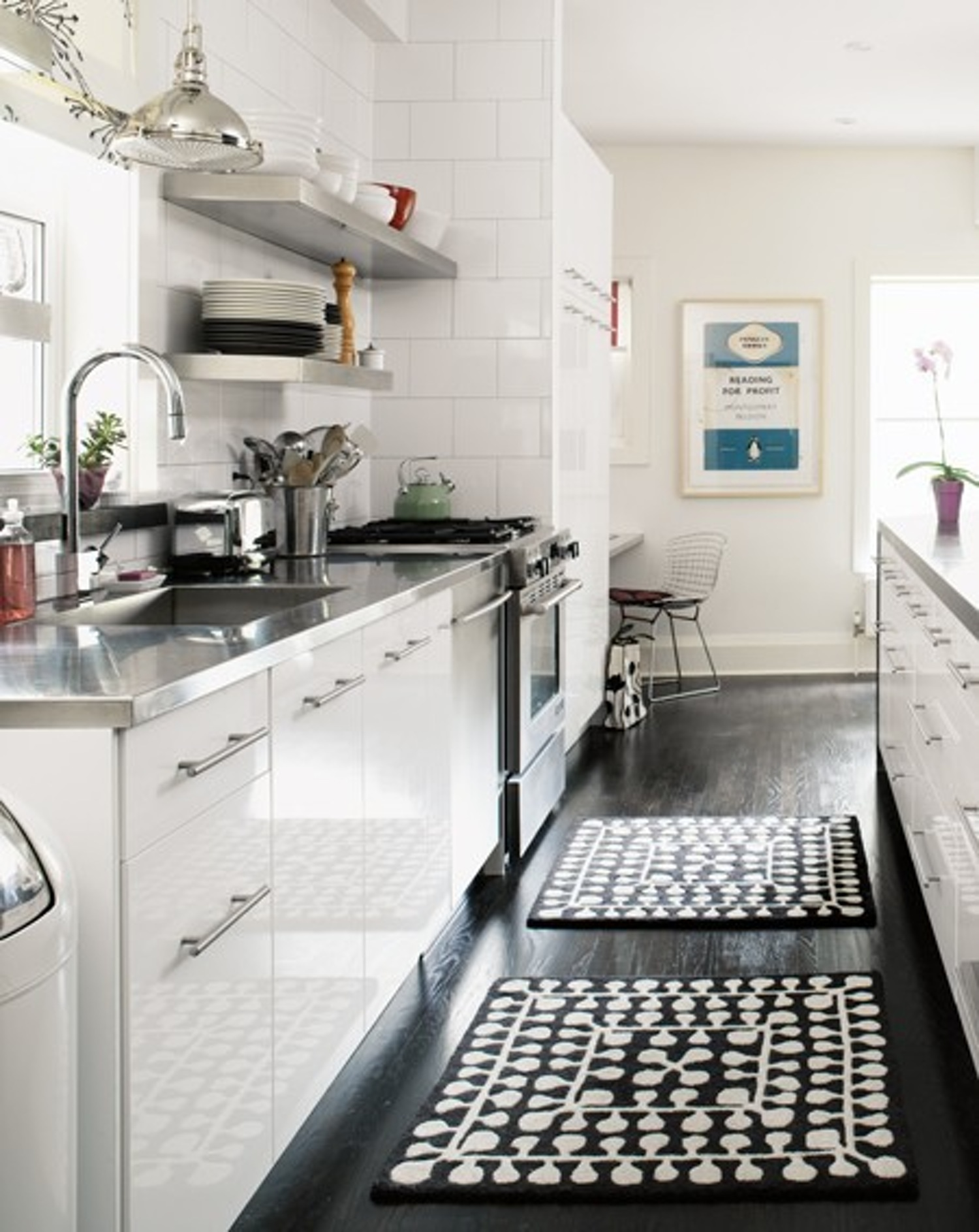 Black and White Kitchen Floor Rug
