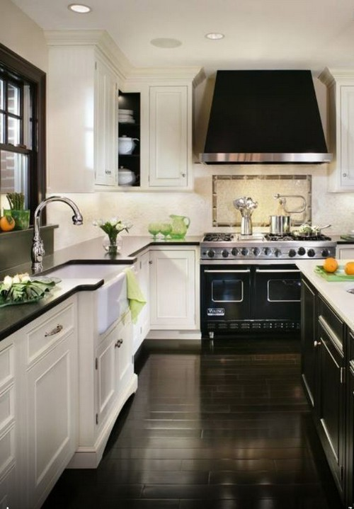 Black and White Kitchen with Dark Floors