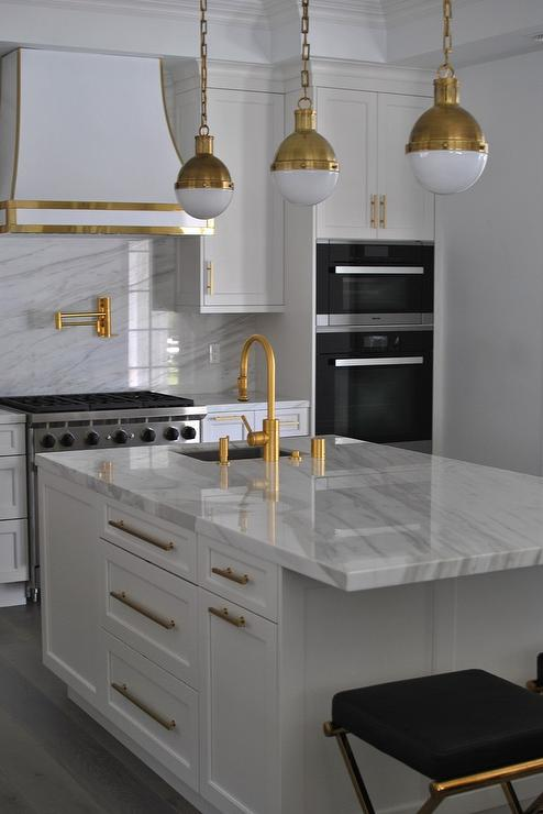 Black and White Kitchen with Pendant Gold