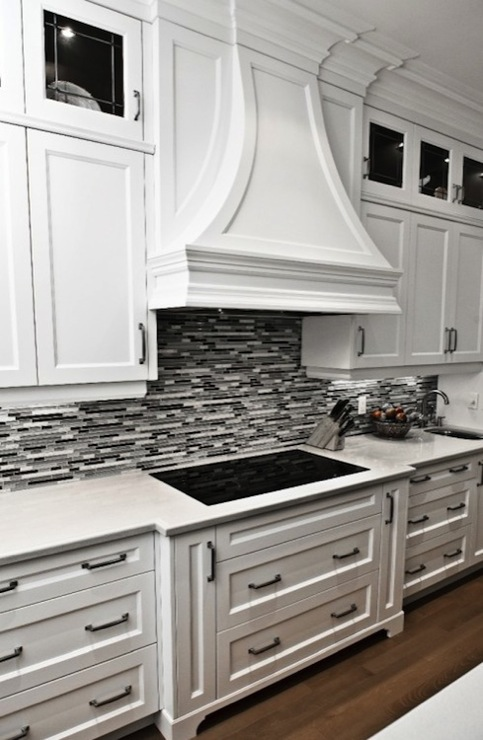 Black and White Quartz Countertop with Backsplash