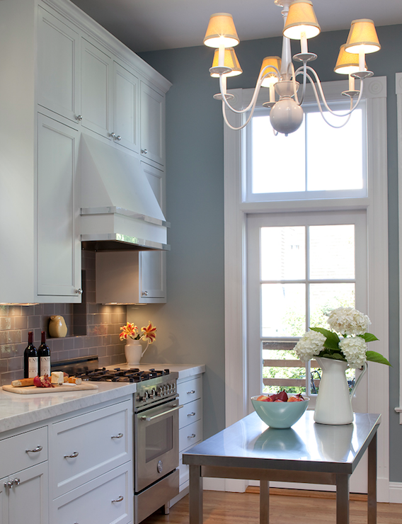 Blue Gray Kitchen Walls with White Cabinets