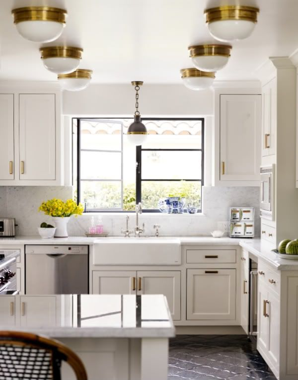 Brass and White Kitchen