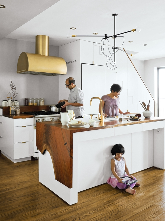Brass and Wood Kitchen