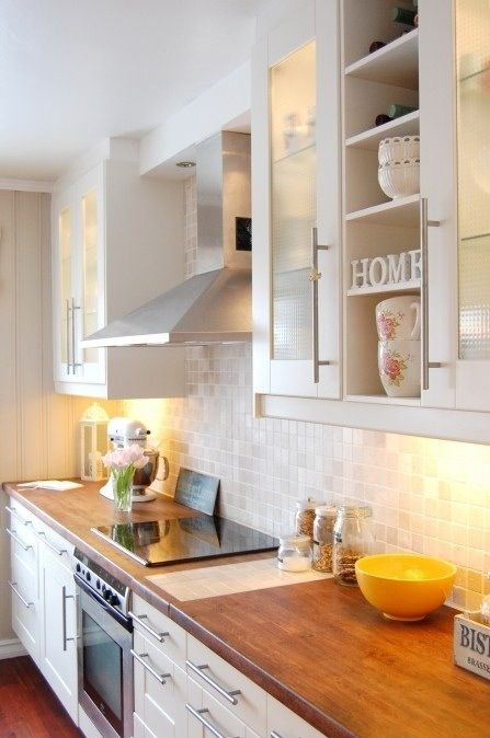 Butcher Block Counters White Kitchen Cabinets
