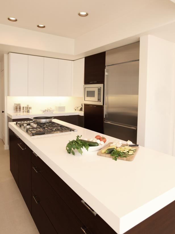Contemporary White Kitchen Cabinets with Countertops