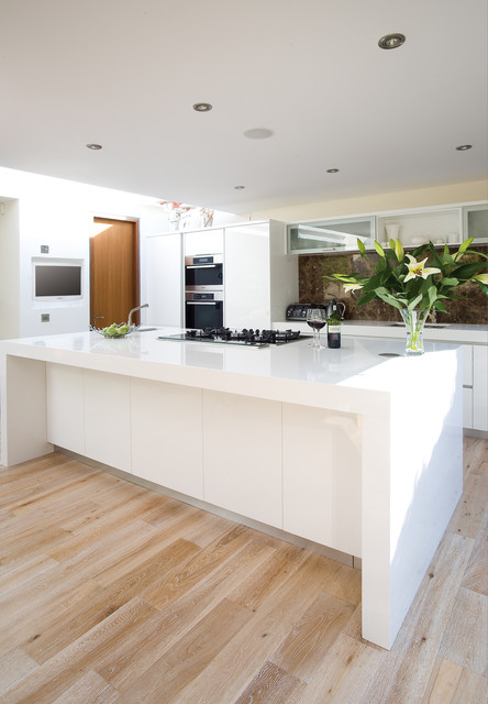 Contemporary White Kitchen with Oak Floor