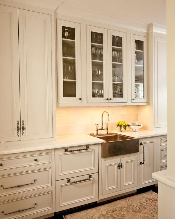 Copper Apron Kitchen Sink with Cabinet in White