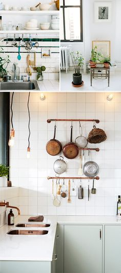 Copper and Green Kitchen