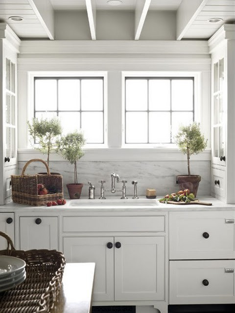 Cottage Kitchens with White Cabinets