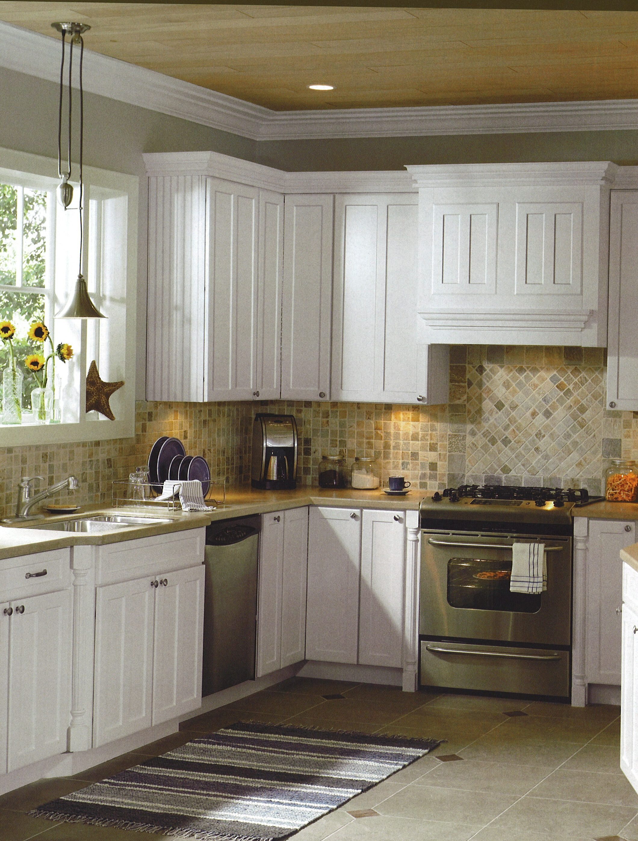 Country Kitchen with White Cabinet Backsplash