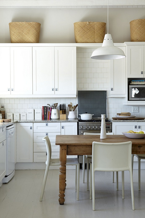 Decorating above Kitchen Cabinets White