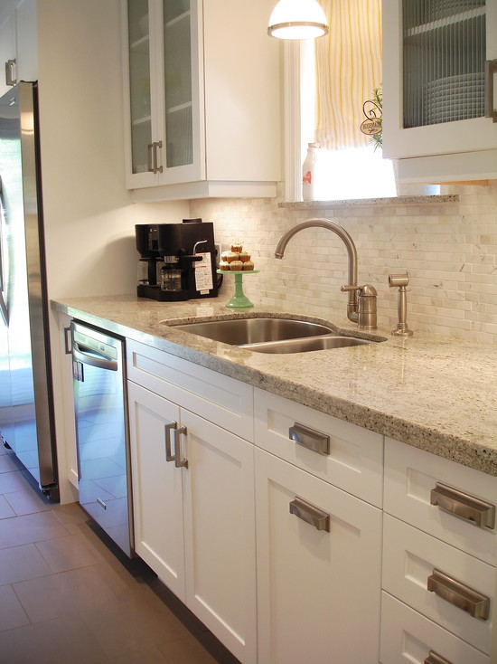 Galley Kitchen White Cabinets with Granite Countertop