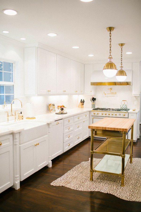 Gold and White Kitchen