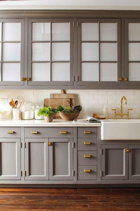 Gray Kitchen Cabinets with Brass Hardware
