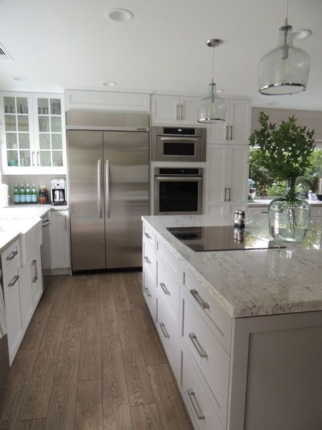 Gray Kitchen White Cabinets with Granite Floors