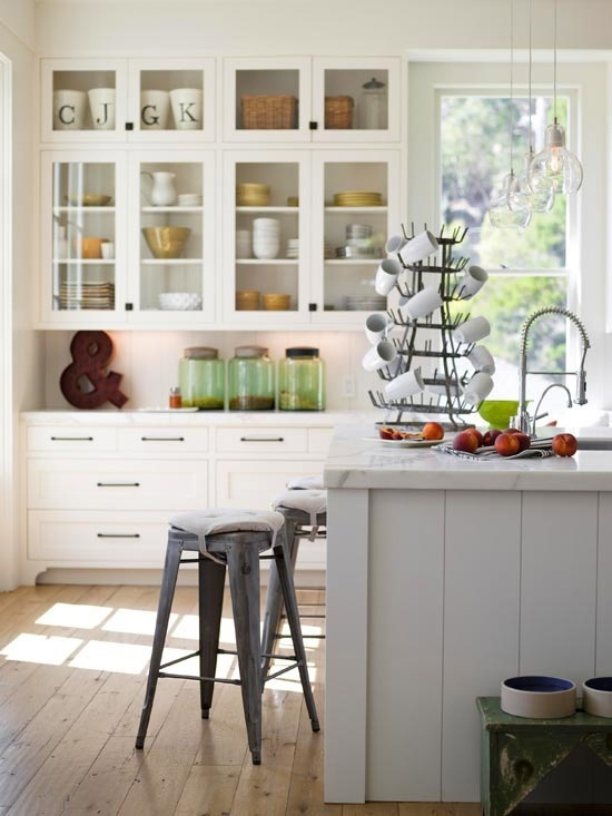 Gray and White Cottage Kitchen