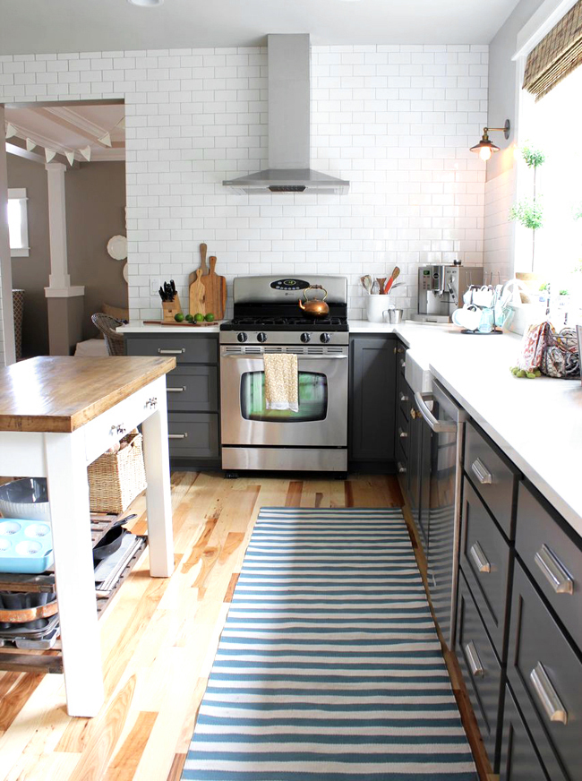 Gray and White Kitchen Cabinets with Counters