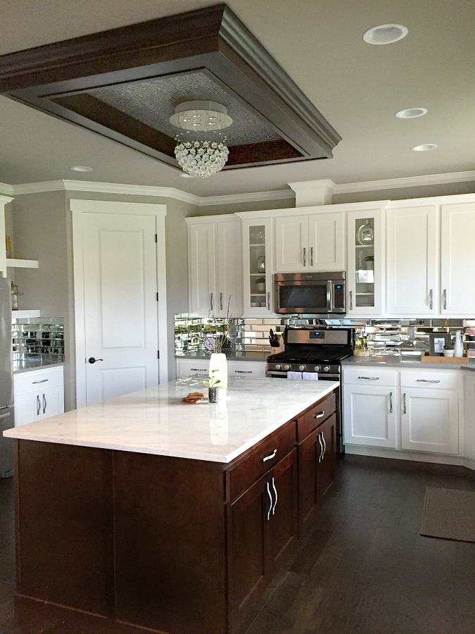 Gray and White Kitchen with Accent