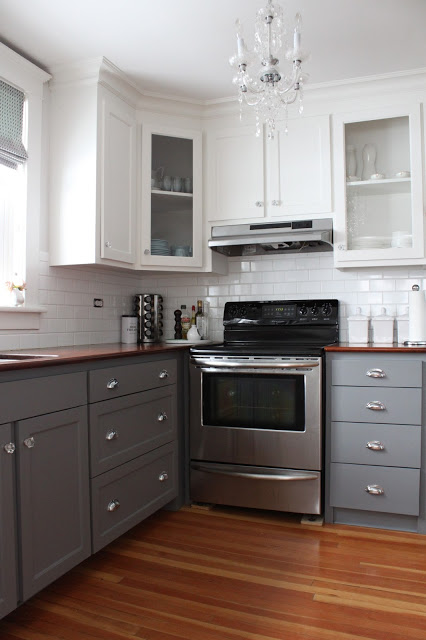 Gray and White Two Tone Kitchen Cabinets
