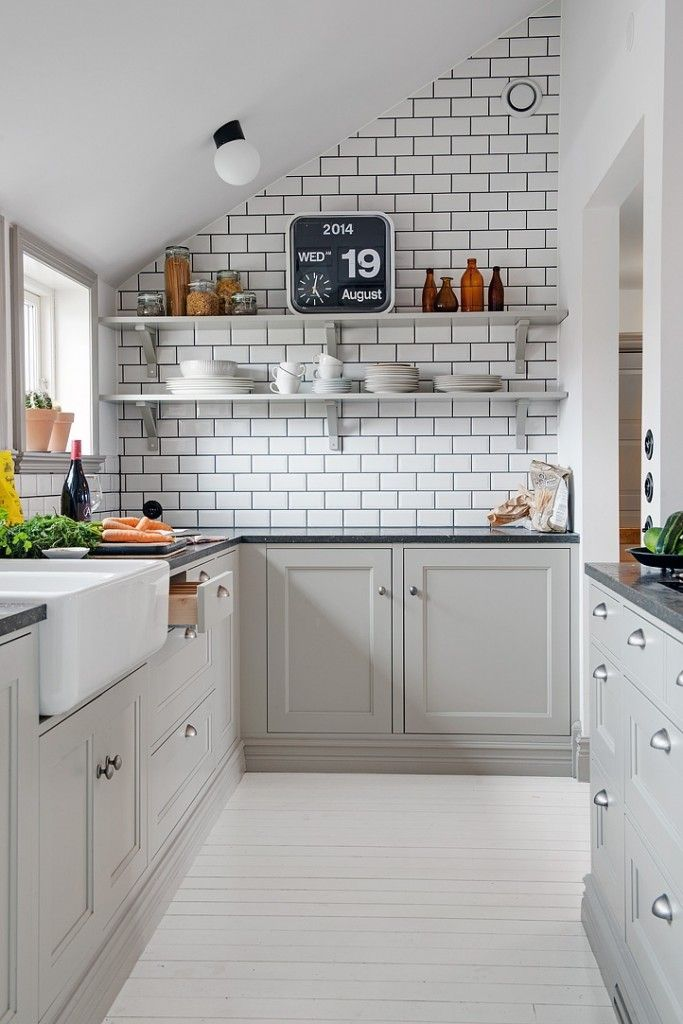 Gray with Dark Grout White Subway Tile in Kitchen