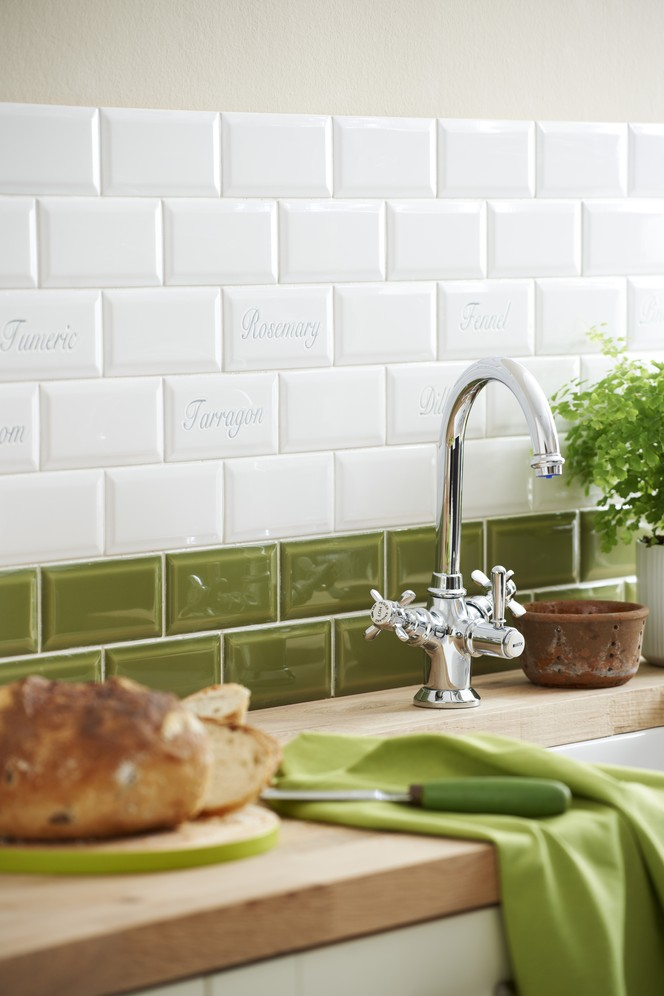 Green Kitchen with White Wall Tile