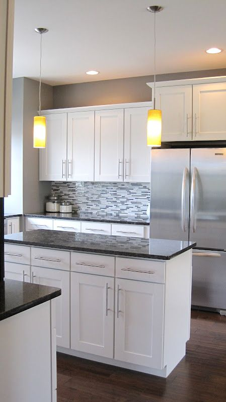 Grey Countertops with White Cabinets