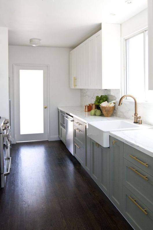 Grey Kitchen Cabinets White Upper and Lower