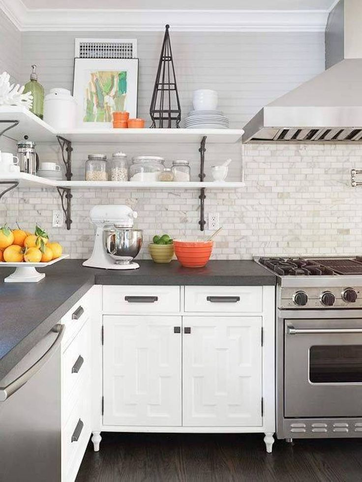 Grey Kitchens with White Cabinets and Countertops