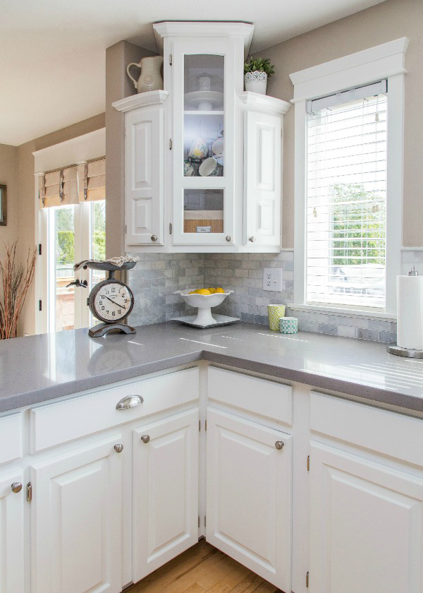 Grey and White Kitchen Cabinets with Quartz Countertops