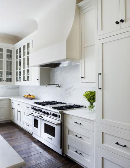 IKEA Kitchen Cabinets with White Marble Countertop