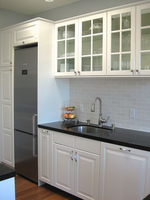 IKEA White Cabinets with Black Countertops