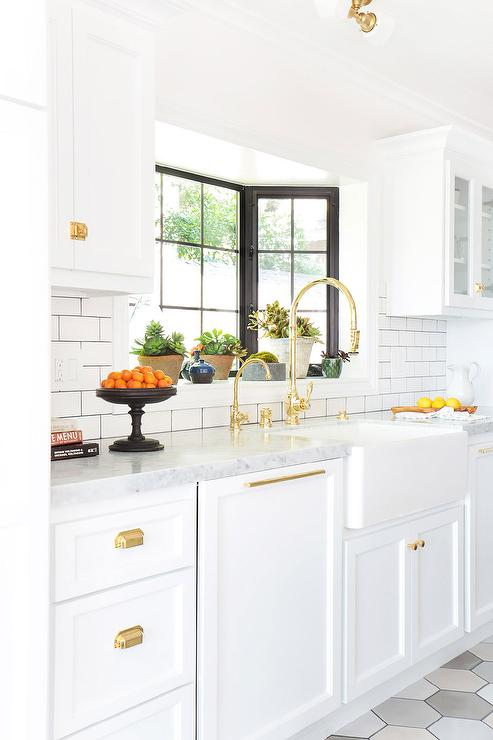 Kitchen Faucet with White Gold