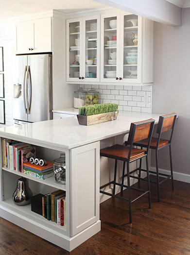 Kitchen Island with Bookcase End
