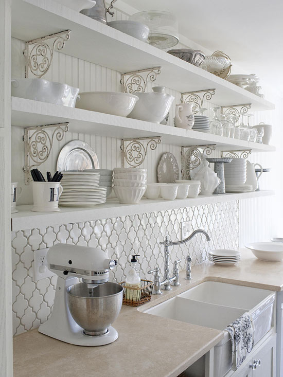 Kitchen Tile Backsplash Open Shelves