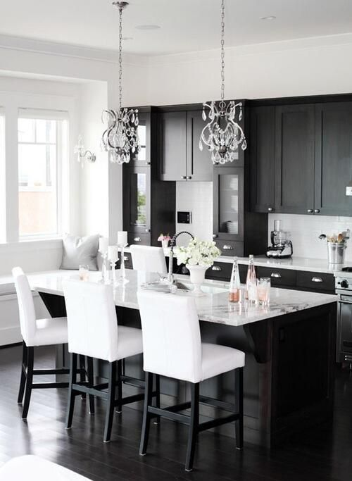 Kitchen with Black Chandelier